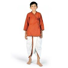 Ethnic Bagru Print Cotton Boys Red n Yellow Dhoti Angrakha Set  EIDLI4KED205C