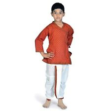 Ethnic Bagru Print Cotton Boys Red n Yellow Dhoti Angrakha Set  EIDLI4KED205B