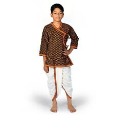 Jaipuri Boys Ethnic Cotton Black n Yellow Dhoti Angrakha Dress  EIDLI4KED206C