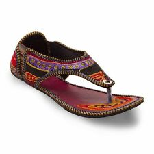 Women Traditional Multicolor Resham Zari Embroidery Work Sandals EI5WMO324