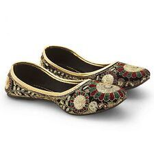 Women Golden Sequins Zari Work Designer Velvet Ballerina Sandals EI5WMO312