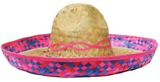 PINK STRAW SOMBRERO HAT MEXICAN ACCESSORY HOLIDAY HEN STAG BANDIT FANCY DRESS