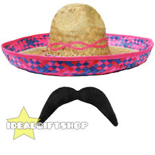 PINK STRAW SOMBRERO HAT 12 PACK PARTY MEXICAN HEN STAG BANDIT FANCY DRESS