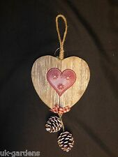 Christmas Decoration Wall Hanging - Wooden Heart With Heart or Star In Centre