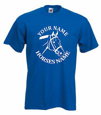 HORSE RIDING PERSONALISED FUNNY KIDS T-SHIRT - HORSE HEAD SIZES 5-15