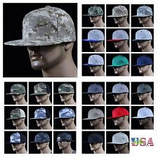 Men Baseball Cap Camouflage Snapback Flat Bill Plain Hat Hip Hop Hunting Hiking