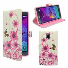 SAMSUNG GALAXY NOTE 4 WHITE PINK SWIRL FLOWER BUTTERFLY PRINT PU LEATHER WALLET