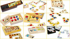 DOMINOES wooden sets fruit animals,nostalgic traditional numbers wooden jumbo