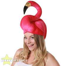 FLAMINGO HAT TROPICAL BIRD PINK PLUSH FANCY DRESS CARIBBEAN HAWAIIAN PARTY