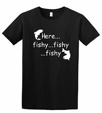 HERE FISHY FISHY FISHY FUNNY FISHING  ADULT T SHIRT IN SIZES S - 5XL
