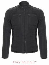 BRAVE SOUL MENS QUILTED PADDED CARGO JACKET PU DETAIL WINTER COAT SIZES S-XL