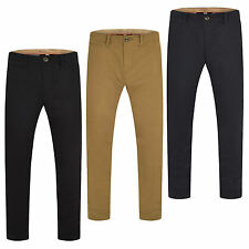 Mens Chino Trousers Slim Fit Cotton Regular Pants Casual Designer new Black S