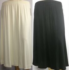 New Ladies Stylish Plain Calf Length Stretch Plus Size panel Women's Skirt 10-24