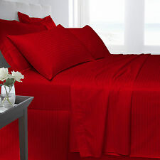 Red Bedding 250 TC 100% Satin Stripe Fitted Flat Duvet Quilt Cover Pillow Cases