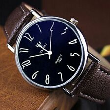 Fashion Stainless Steel Leather Men's Sport Military Analog Quartz Wrist Watch