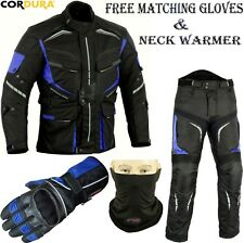 BLUE SPEED MAX CE ARMOUR MOTORBIKE / MOTORCYCLE TEXTILE JACKET / TROUSERS SUIT