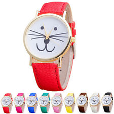 2015 Girl Watch Cat Face Pattern Watch Analog Quartz Vogue Womens Wrist Watches