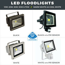 LED FLOODLIGHTS 10W - 100W BLACK OR WHITE LED SECURITY LIGHTS WITH PIR OPTION