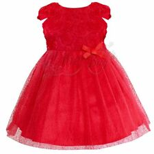 Newborn Baby Red Floral Tulle Wedding Party Flower Girls Dresses Formal Clothing