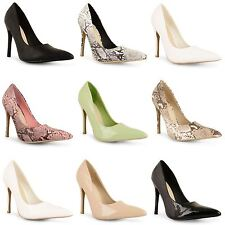 Womens Ladies Patent High Heels Point Toe Corset Stilettos Prom Court Shoes Size