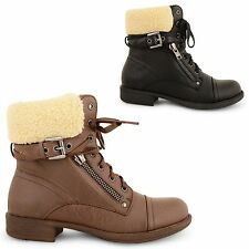 NEW WOMENS FUR LINED COMBAT HIGH ANKLE BOOTS LADIES DOLCIS ARMY WORKER SHOES