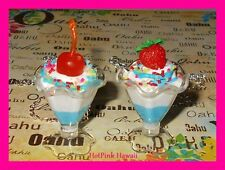 2pcs RARE HANDMADE Ice cream Sundae BF Necklaces Chocolate Cherry Strawberry USA