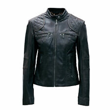 Ladies Real Leather Black / Brown Biker jacket size 8 to 16 52487