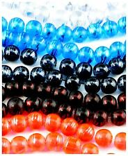 100 pieces 8mm Round Translucent Glass Drawbench Style Beads