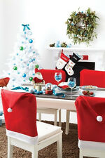 Red Father Santa Clause Hat Chair Back Cover Christmas Dinner Table Party Decor