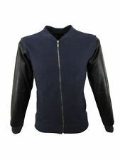 King Couture Mens PU Sleeved Zip up Jacket in Navy Blue