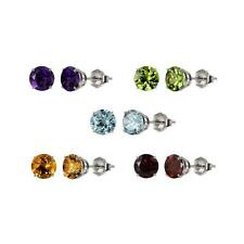 Sterling Silver 925 Round 5mm Semi-Precious Gemstone Stud Earrings 1.00 cttw