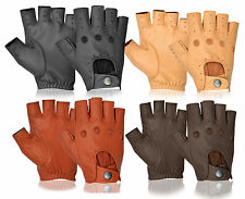 Real Lambskin Half Finger Driving Gloves Car Bus Motorbike Delivery Van Gym Use