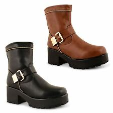 Womens Ladies Block Chunky Mid Heel Platform Gothic Punk Ankle Boots Shoes Size