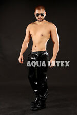 Loose Fit Rubber Latex Pants Elasticized Waistband and Ankles Fashion Trousers