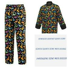 COMPLETO CUOCO EGOCHEF PANTALONE GIACCA BLACK DINO COMPLETE CHEF JACKET PANTS