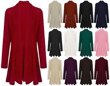 NEW WOMENS LADIES KNITTED CROCHET WATERFALL OPEN CARDIGAN HIP LENGTH PLUS SIZE