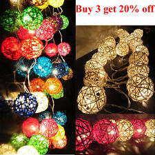 20 Handmade Wicker Rattan Ball String Fairy Lights, Party, Weddings, Christmas