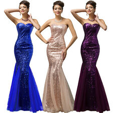 GORGEOUS BLUE SEQUINED EVENING MAXI GOWN WEDDING FORMAL MERMAID BRIDESMAID DRESS