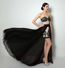 Womens Mesh Short Cocktail Dress Party Dress Prom Gowns Applique Removable Dress