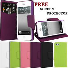 UK Luxury Leather Wallet Flip Pouch Leather Case Cover for Apple iPhone 5 5S SE