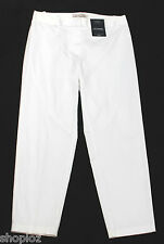 M&S Size 6 Short Cotton  7/8 Trousers with Stretch Bnwt White 23L