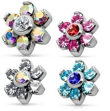New Surgical Steel CZ Crystal Gem Set Flower Dermal Anchor Head Top Rainbow Pink