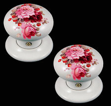 White Porcellana Ceramica Pomello Porta Set Fragole & Cream Con Fiori