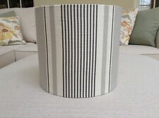 Handmade Lampshade with Vanessa Arbuthnott French Ticking Fabric Clay Charcoal