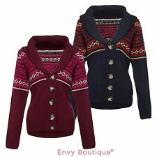 BRAVE SOUL LADIES WOMENS KNITTED CARDIGAN SHAWL COLLAR BUTTON UP WARM JUMPER