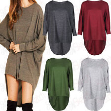 New Women Ladies High Low Dip Back Loose Fit Over Sized Batwing Top Dress 8-30