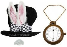 WHITE RABBIT EAR BLACK TOP HAT + CLOCK + NOSE WONDERLAND BUNNY BOOK SCHOOL