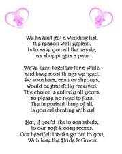 25 x Wedding Money Request Poem Cards * 3 poems - any colour - 3 designs*