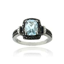 argent 925 1.9ct ct Topaze bleu & Diamant Noir ACCENT Rectangle Bague