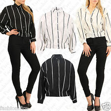 New Women Ladies STRIPE CROPPED Pleated Shirt Cuffed button sleeves Top UK 8-14